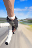 Speed Zoom Bike Rider. Fast Road Bicyclist with road speed zoom blurred Stock Photos