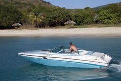 Speedboat. A speedboat in the Caribbean stock photos