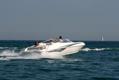 Speedboat. A speedboat under full power on Lake Michigan Stock Photography