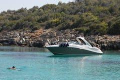 Speedboat. At anchor , Bodrum Turkey Stock Photo