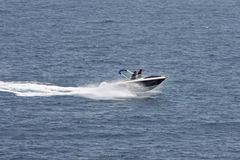 Speedboat. Navigating in the mediterranean sea royalty free stock images
