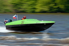 Speedboat in Action. ROUDNICE NAD LABEM, CZECH REPUBLIC - 7 MAY, 2011: Unidentified speedboat driver in action at Roudnicky Trojuhelnik on May 7, 2011 Stock Images