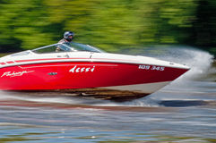 Speedboat in Action. ROUDNICE NAD LABEM, CZECH R. - MAY 7: Unidentified speedboat driver in action at Roudnicky Trojuhelnik on May 7, 2011 in Roudnice nad Labem Stock Image