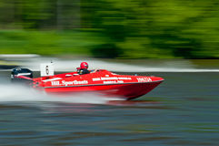 Speedboat in Action. ROUDNICE NAD LABEM, CZECH R. - MAY 7: Unidentified speedboat driver in action at Roudnicky Trojuhelnik on May 7, 2011 in Roudnice nad Labem Royalty Free Stock Image
