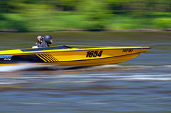 Speedboat in Action. ROUDNICE NAD LABEM, CZECH R. - MAY 7: Unidentified speedboat driver in action at Roudnicky Trojuhelnik on May 7, 2011 in Roudnice nad Labem Royalty Free Stock Images