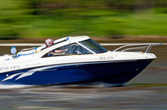 Speedboat in Action. ROUDNICE NAD LABEM, CZECH R. - MAY 7, 2011: Unidentified speedboat driver in action at Roudnicky Trojuhelnik (RT) on May 7, 2011 in Roudnice Stock Photo