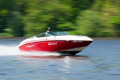 Speedboat in Action. ROUDNICE NAD LABEM, CZECH R. - MAY 7: Unidentified speedboat driver in action at Roudnicky Trojuhelnik on May 7, 2011 in Roudnice nad Labem Royalty Free Stock Photo