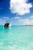Speedboat anchored in Grace Bay Stock Photography