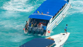 Speedboat approaches the beach Similan Islands stock footage