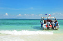 Speedboat on beach Royalty Free Stock Photography