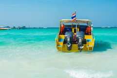 Speedboat on beautiful blue water beach Stock Photography