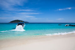 Speedboat in the blue sea Stock Images