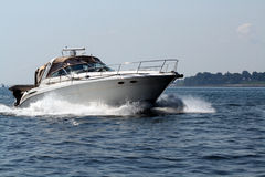 Speedboat with cabin. Larger speedboat on lake Michigan stock photography