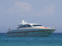 Speedboat with couple. Saint-tropez, french riviera - adobe RGB stock images