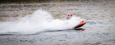 Speedboat Cruises Along the River stock image