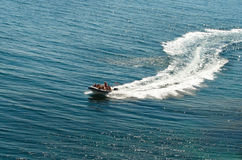 Speedboat cruising. Speedboat or motorboat cruising on the sea in summer Royalty Free Stock Photography