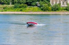 Speedboat. Cruising in the lake Stock Photography