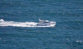 Speedboat cruising in sea. This is speedboat cruising in sea Royalty Free Stock Photo