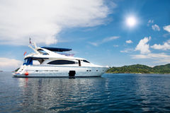 Speedboat cruising in tropical sea. This is speedboat cruising in tropical sea Stock Photography