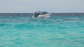 Speedboat departure from Similan Islands stock video