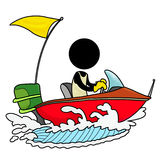Speedboat driver. Silhouette-man on transportation icon - speedboat driver Royalty Free Stock Photo