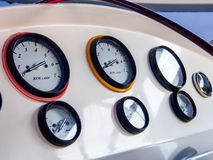 Speedboat engine control guages. Engine control guages of a modern speedboat Stock Photo