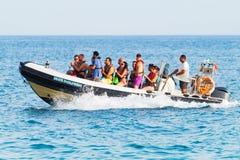 Speedboat experience boat in Algarve Portugal Stock Image