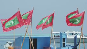Speedboat and flags. A white speed boat ferry carrying passengers,  arriving in a small harbor in the background. Maldivian flags waving in the wind in the stock video footage