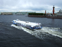 Speedboat hydrofoil Meteor. ST. PETERSBURG, RUSSIA - MAY, 2015: Speedboat hydrofoil Meteor is in the city center on Neva river. in St. Petersburg. May. 2015 Stock Images