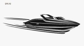 Speedboat isolated vector illustration. Luxury and expensive boat. Fast tourist vessel vector illustration