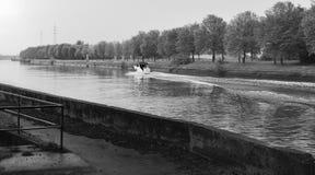 Speedboat on the Leie Royalty Free Stock Image