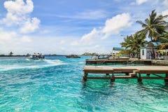 Speedboat of maldives Stock Images