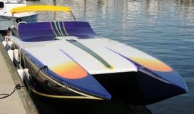Speedboat in marina royalty free stock photos