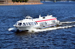 Speedboat on the Neva river Stock Photo