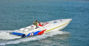Speedboat at the nordsea. OSTEND, BELGIUM, AUGUST 2015: The world champion Cigarette race team speed-boat: the boat is called Cigarette top gun Royalty Free Stock Images
