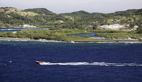 Speedboat off Island of Roatan Stock Photos