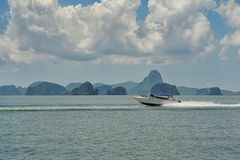 Speedboat at open sea. Amazing landscape Stock Photos