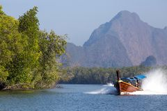 Speedboat in the Pang Nga bay Royalty Free Stock Images