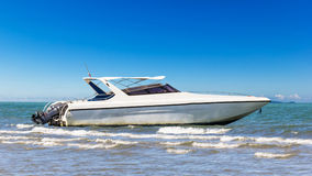 Speedboat park at beach Stock Image