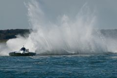 Speedboat Race. Hydrofoil making a big rooster-tail at the speed boat race in Wildwood, New Jersey Stock Photography