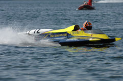 Speedboat race. Speedboat at finishing during world and european championchips in germany Royalty Free Stock Photography
