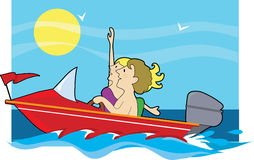 Speedboat Ride. Man and woman in a speedboat Stock Photo