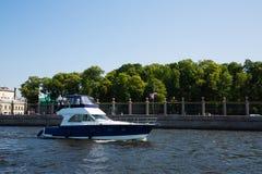 Speedboat on the river Neva in St. Petersburg Stock Photos