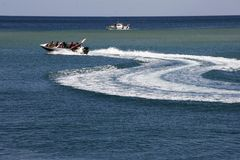 Speedboat in the sea. Speedboat in the blue sea Stock Image