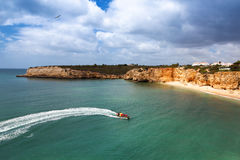 Speedboat at sea, view from above. Algarve, Portugal, Armacao de Pera Stock Photo