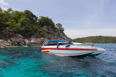 Speedboat at snorkeling point, raya island Royalty Free Stock Images