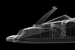 Speedboat, Speeding Powerboat. 3D model body structure, wire model Stock Image