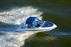 Speedboat speeding. View from above Royalty Free Stock Images