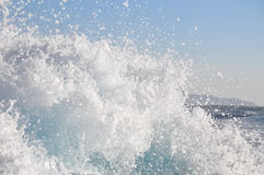Speedboat spray, water splashing. From a speed boat Royalty Free Stock Photos