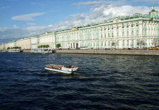 Speedboat. ST. PETERSBURG, RUSSIA - MAY, 2015: Speedboat  is in the city center on Neva river. in St. Petersburg. May. 2015 Royalty Free Stock Image